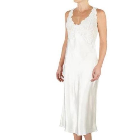 Cinema Etoile Intimates & Sleepwear | Long Satin Lace Bridal White ...